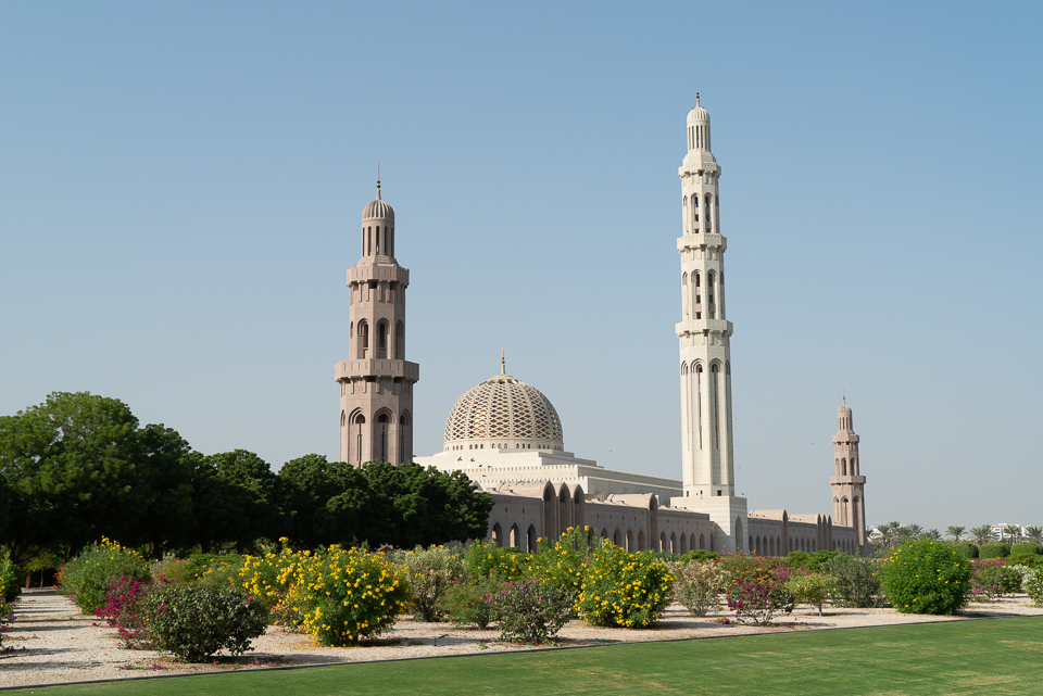 Sultan Qaboos Grand Mosque. Oman is becoming a popular travel destination in the Middle East.