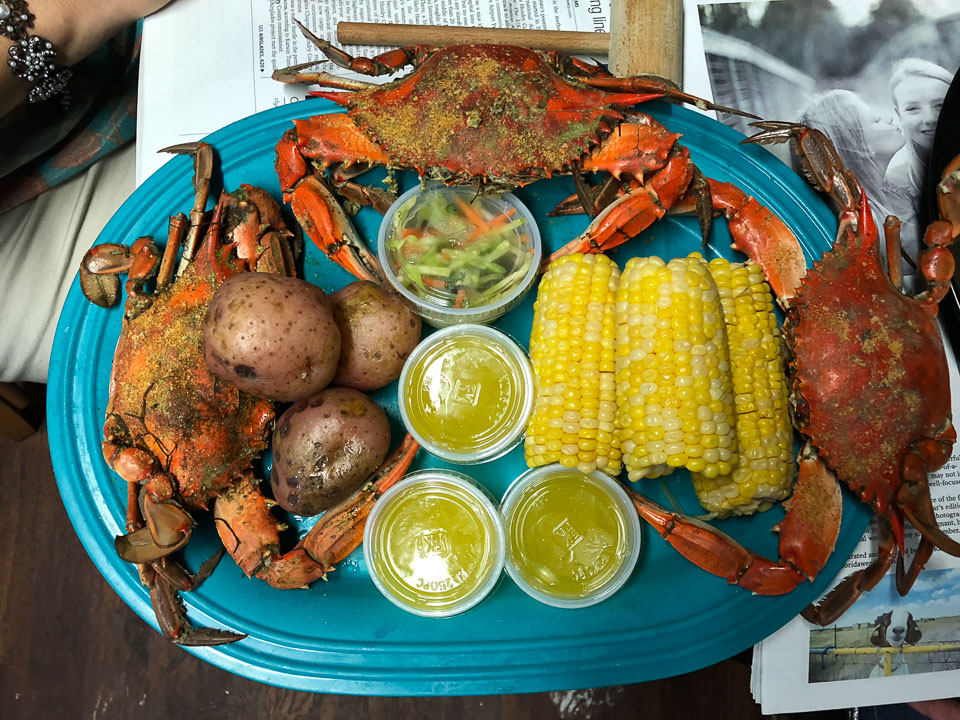 A feast of blue crabs at Peace River Seafood. Punta Gorda, Fl © 2018 Charles & Mary Love