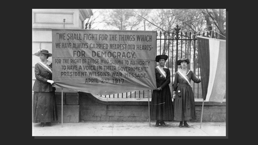 Suffragists picket outside the White House