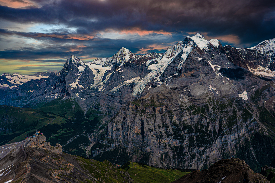 Eiger, Monch and Jungfrau at sunset from the Schiltorn © 2021Charles & Mary Love